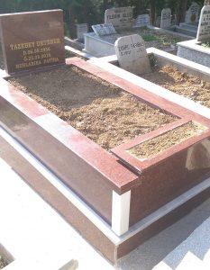 Tek Kişilik Çiçek Saksılı Komple Granit Mezar