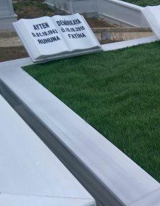 İki Kişilik Baş Taşı Kitabe Mermer Mezar