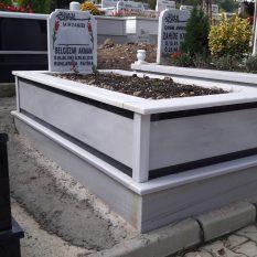 Tek Kişilik Çift Şeritli Mermer Mezar