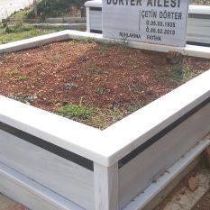 İki Kişilik Granit Şeritli Mermer Mezar