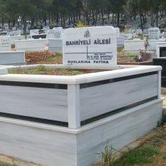 İki Kişilik Çift Granit Şeritli Mermer Mezar