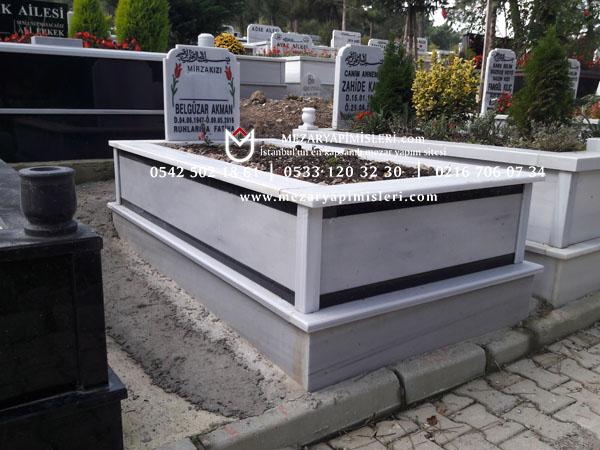 Tek kişilik çift şeritli komple mermer mezar modelleri